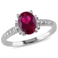 0.07 CT  Diamond TW And 2 CT TGW Created Ruby Fashion Ring  10k White Gold GH I2;I3