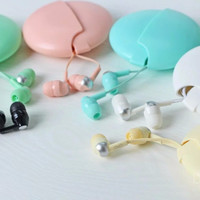 2016 Lovely Cute in-ear 3.5mm Jack  Earphones Candy Color with Mic for IPhone 6 Sumsang With Storage Box for Samsung android
