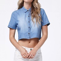 LA Hearts Short Sleeve Chambray Button-Down Cropped Top - Womens Shirts - Blue