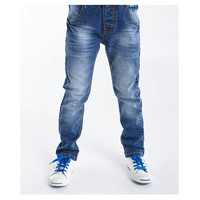 BYCR size 4-12 boys blue denim casual jeans strench pull on straight fit elastic waist pants for little big kids