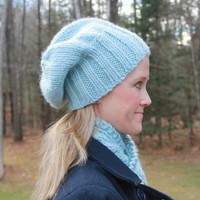 Cable Knit Hat and Cowl Set - Hat and Cowl Set - Matching Cowl and Slouchy Hat - Hat and Scarf Set - Unisex