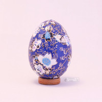 Washi egg, paper wrapped easter egg, oriental decor, origami art, Japanese decoupage egg ornament - cherry blossom floral, royal blue