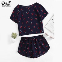 Dotfashion Print Top And Shorts 2017 New Short Sleeve Cute Women Clothing Two Piece Set Round Neck Casual Pajama Set
