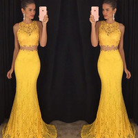 Mermaid Lace Prom Dress,Yellow Two Piece Prom Dresses,Evening Dresses