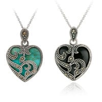 New Endless Love™ - Sterling Silver Exclusive Marcasite & Turquoise Heart Necklace 65% OFF! -  FREE SHIPPING!