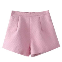 Pink Textured Mini Shorts