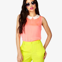 Lace Collar Satin Top   FOREVER 21 - 2024093272