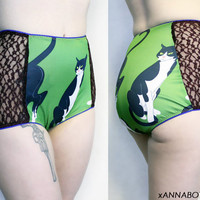 Sly Kitty - Green Cat High Waisted Retro Panties Knickers Briefs Underwear - Picot Trim - Lace Side Panels