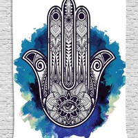 VONESC6 Hamsa Hand Tapestry Indian Wall Floral Hanging Tapestry for Home Psychedelic Bedspread 145CMX145CM