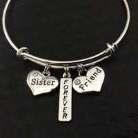 Sister Forever Friend Stamped Silver Charm Expandable Bracelet Adjustable Wire Bangle Trendy Gift Handmade Meaningful