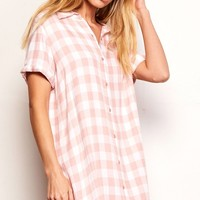 BB Dakota Cicely Gingham Shirt Dress - Pink