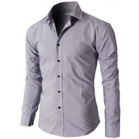 Doublju Mens Casual Slim Fit Button Down Shirts With Plaid Patterned (KMTSTL097)