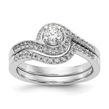 3/4 Ct. Natural Diamond By-Pass Style Bridal Engagement Ring Set 10K White Gold