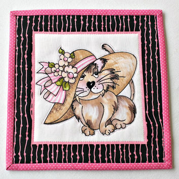 Quilted Cat Mug Rug, Cat Snack Mat, Pink Black Mug Rug, Cat Candle Mat, Fancy Cats, Quiltsy Handmade
