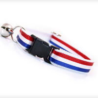 """Cat Collar - """"Old Glory"""" - Red, White & Blue Stripes"""