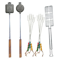 11-Pc Fire Pit Cookout Set, Silver, Grill Tools & Accessories