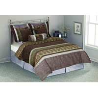 Tache Chenille Exotic Paisley Striped Brown Olive Green Asian Meadow Comforter Set With Zipper (BM4546)