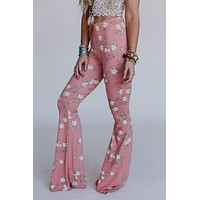 Cher Floral Flare Pants - Blush