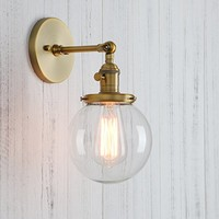 """Permo Vintage Industrial Wall Sconce Lighting Fixture with Mini 5.9"""" Round Clear Glass Globe Hand Blown Shade (Antique)"""