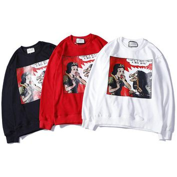 Luxury brand Sweatshirt for mens and womens Autumn off Black White Red Couple Sweatshirt for teenagers Snow White clothing