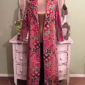 Coachella  70s Hippie Coat, Tapestry Maxi Duster, Bohemian Coat, Double Breasted Coat, Fit n Flare Trench, Multi Pink Ornate Coat, M - M/L