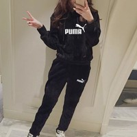 """Puma"" Women Casual Fashion Gold Velvet Letter Long Sleeve Hoodie Sweater Trousers Set Two-Piece Sportswear"