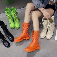Women Fashion Mid Calf Buckled Lace Up Round Toe Boots