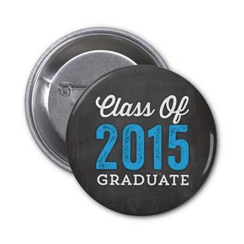 Graduation 2014 Chalkboard With Blue Buttons