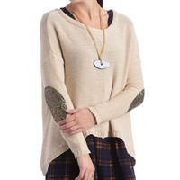 Elan High-Low Sequin Elbow Patch Sweater