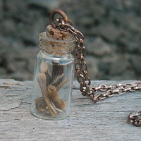 Bone Bottle Necklace Bone Vial Necklace Feather by InkandRoses13