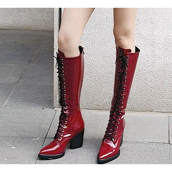 Women Patent Leather Knee High Lace Up Square Heel Boots