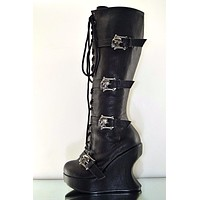 Bravo 109 Gun Metal Skull Buckle Strapped Platform Wedge Knee Boot Sexy Biker