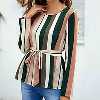 Self Belted Striped Shirt Top Tee