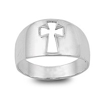 Sterling Silver 12mm Cut Out Cross Ring