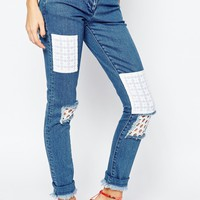 House of Holland Patch Skinny Jeans