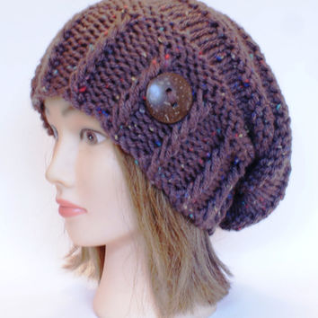 Knitted Brown tweed slouchy beanie hat women - irish hat - Slouch Beanie - chunky hats - Knit Winter Fall Accessories , Slouchy hat
