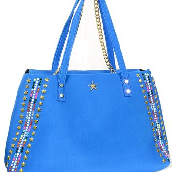 Blue Beach Nylon Tote Bag Purse Star Studs Beads