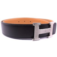 AUTHENTIC HERMES Constance H belt 75 belt Silver/black Box Calfskin Women