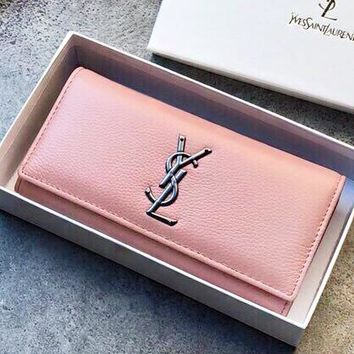 YSL New fashion leather wallet purse women Pink
