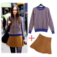 Patterned Sweater With Woolen Mini Skirt