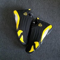 "Air Jordan 14 Retro ""Thunder"" Black/Vibrant Yellow-White AJ14 Sneakers - Best Deal Online"