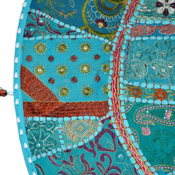 """17"""" Giant Floor Pillow Large floor Cushion pouf pouffe poof round embroidered patchwork Bohemian floor cushion Indian Foot Stool Bean Bag"""
