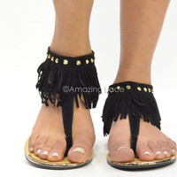Black Fringe Ankle Sandals Flat Gold Studded Pretty Suede Indian Summer Fashion
