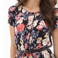 Black Floral Print Dress with Belt