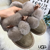 Free shipping-UGG comfortable wild one hair ball low tube flat with women's boots #5