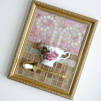 Pink Orchid Teacup Mosaic Wall Art, Mixed Media Teacup Art, Pink Gold Mosaic Teacup Art, Framed Teacup