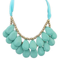 Light Green Faux Gem Water Drop Necklace