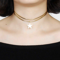 """New Fashion Double Layer Gold Plated PU Leather Choker Necklace Stars Pendant 34.5cm(13 5/8"""") long, 1 Piece"""