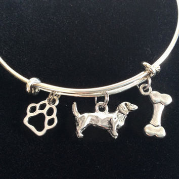 Dachshund Dog, Bone and Paw Print Charm Silver Expandable Bracelet Adjustable Bangle Lover Gift Trendy