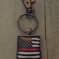 American flag firefighter thin red line keychain